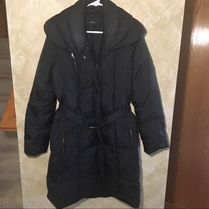 Cole Haan Long Down Winter Jacket With Belt